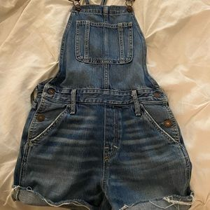 Dark wash Abercrombie overall shorts